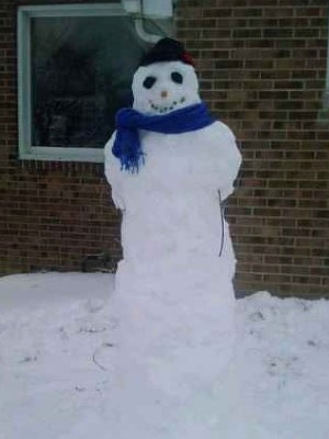 Snowman created by Catherine James and Diana Walker